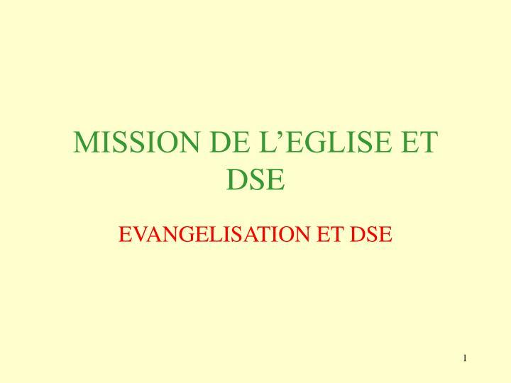 Mission de l eglise et dse