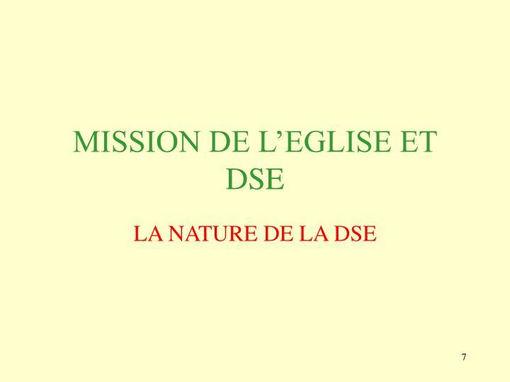 MISSION DE L'EGLISE ET DSE
