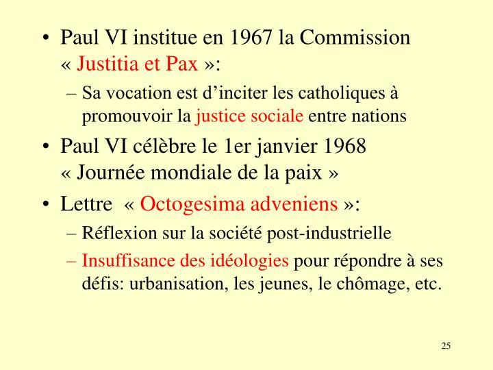Paul VI institue en 1967 la Commission «