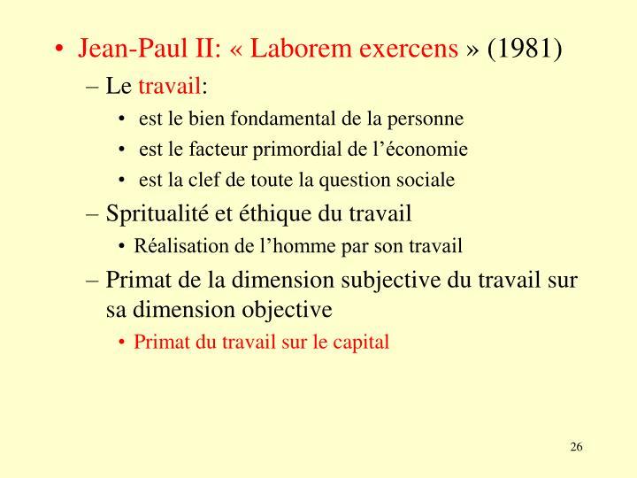 Jean-Paul II: «Laborem exercens