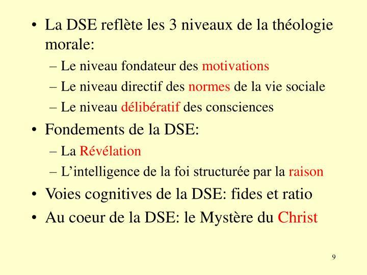 La DSE reflète les 3 niveaux de la théologie morale: