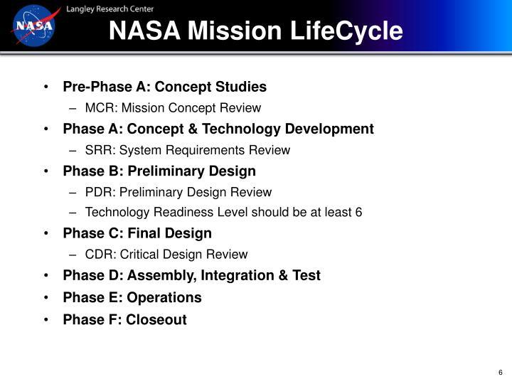 NASA Mission LifeCycle