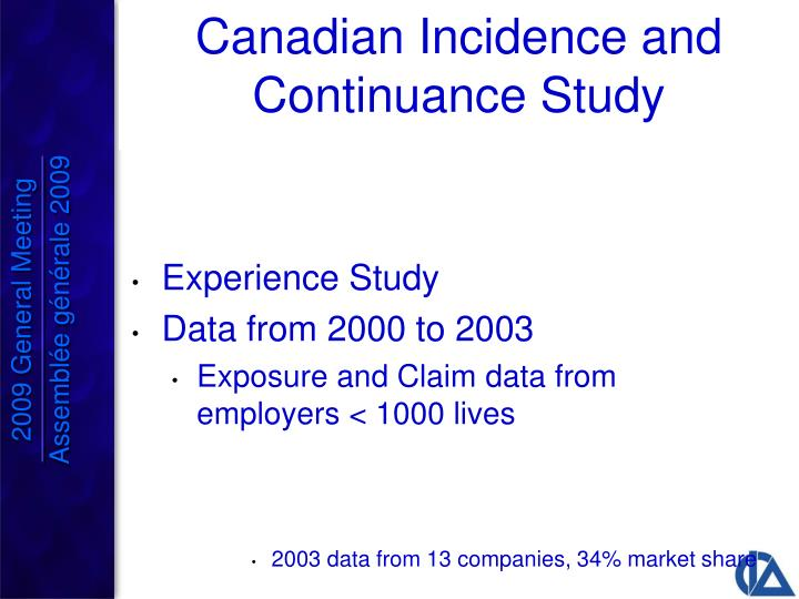 Canadian Incidence and Continuance Study