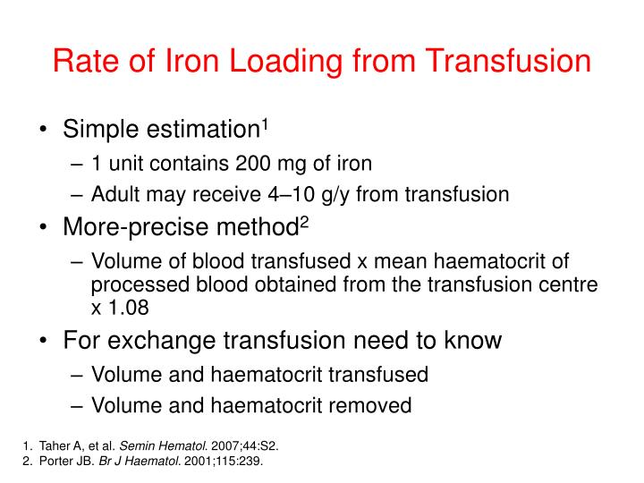 Rate of Iron Loading from Transfusion