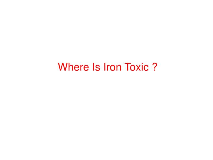 Where Is Iron Toxic ?