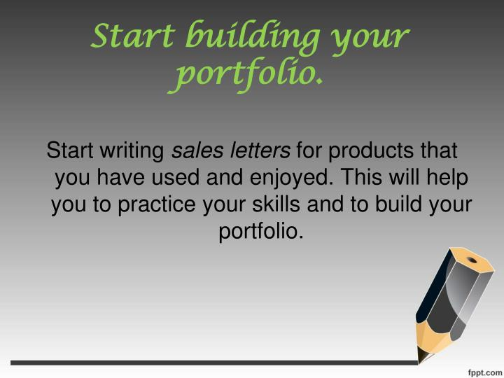 Start building your portfolio
