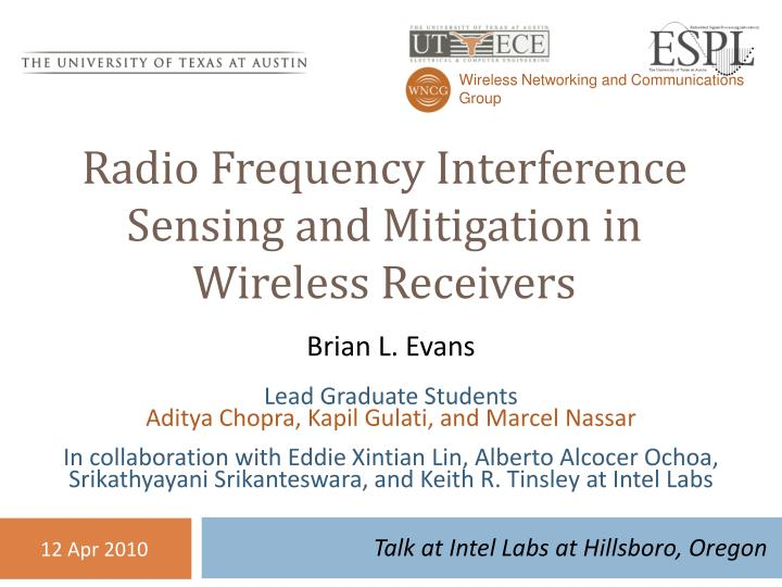 radio frequency interference sensing and mitigation in wireless receivers n.