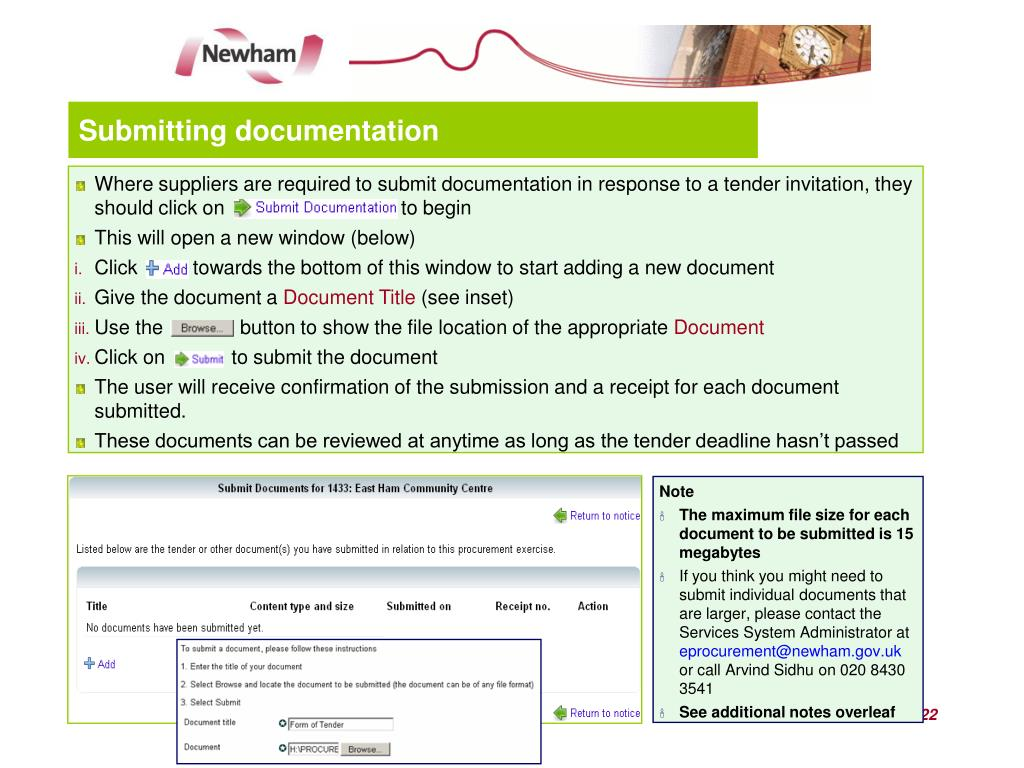 PPT - NECTR Newham's Electronic Contract & Tendering Resource