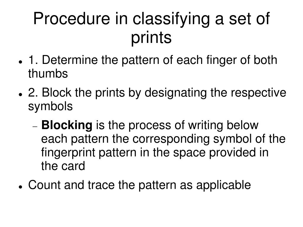 ppt procedure in classifying a set of prints powerpoint