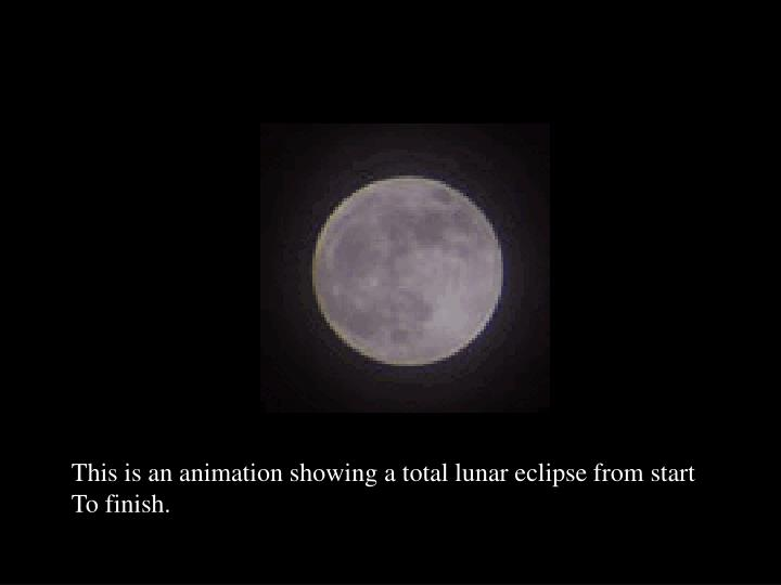 This is an animation showing a total lunar eclipse from start