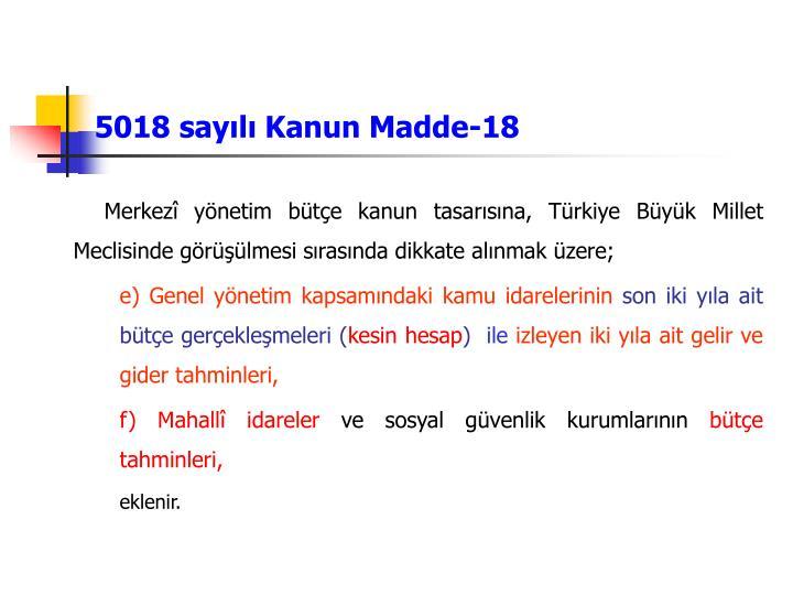5018 sayılı Kanun Madde-18