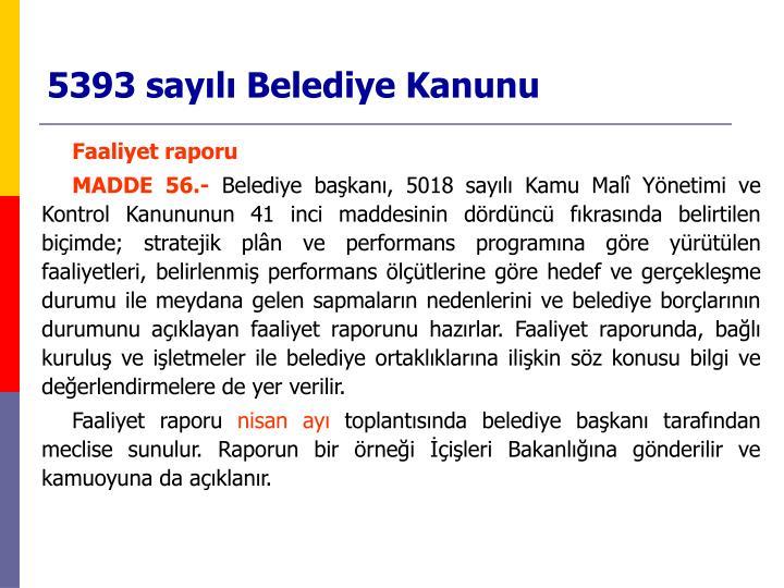 5393 sayılı Belediye Kanunu