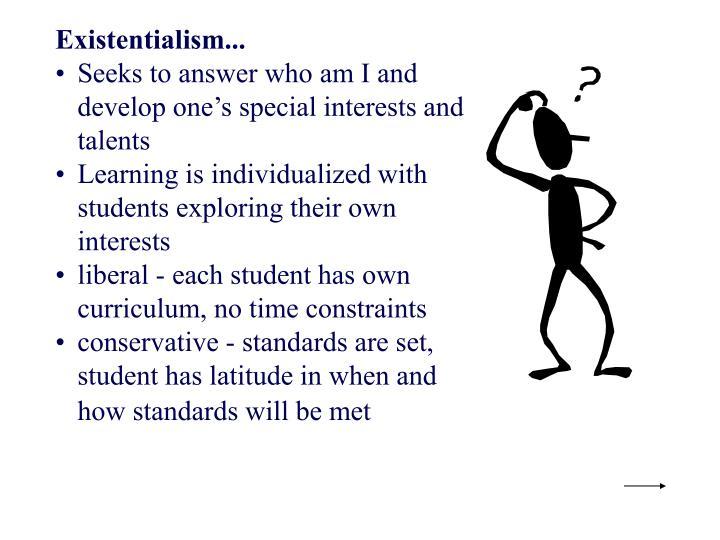 curriculum of existentialism