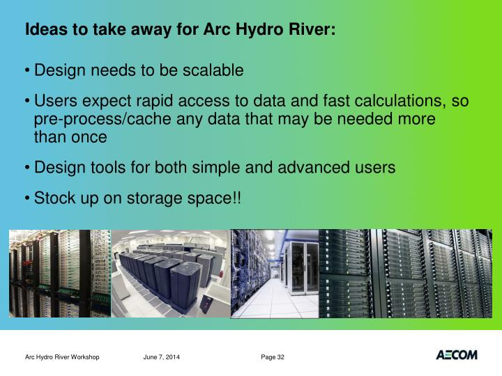 Ideas to take away for Arc Hydro River:
