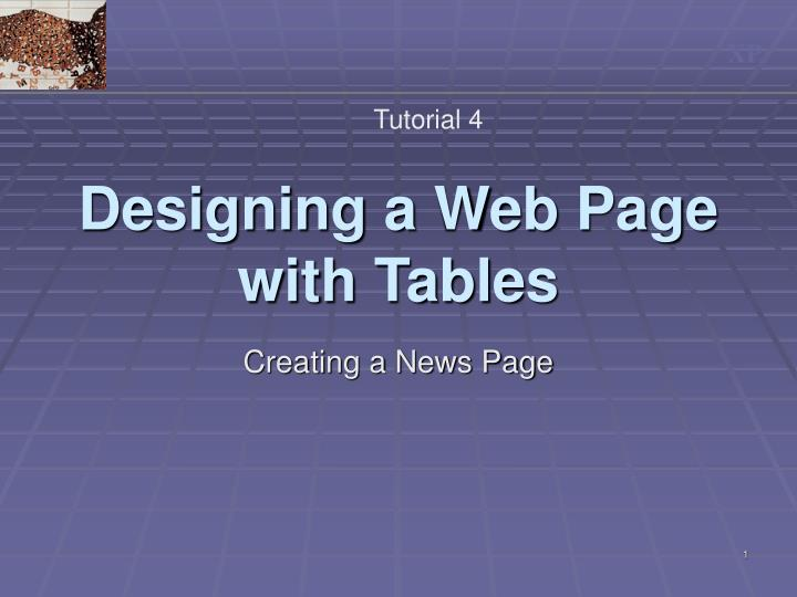 designing a web page with tables n.