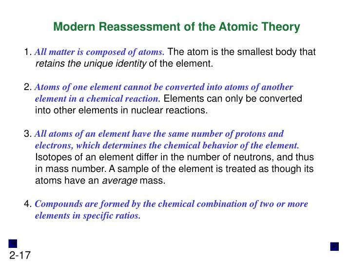 Modern Reassessment of the Atomic Theory
