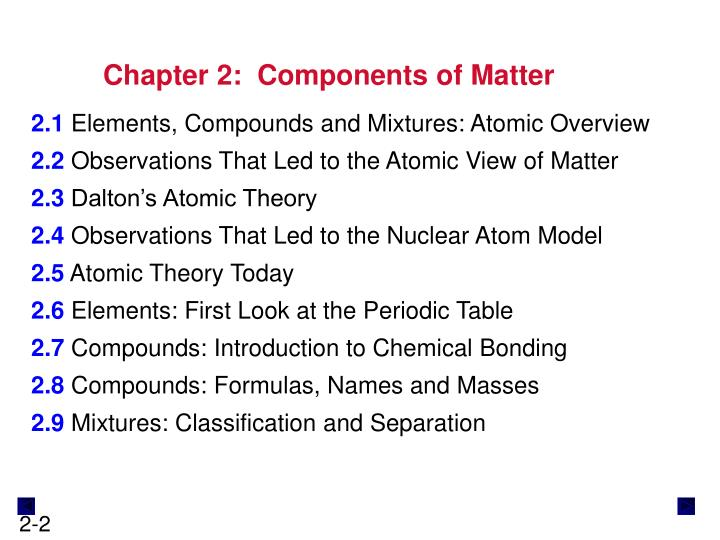 Chapter 2:  Components of Matter