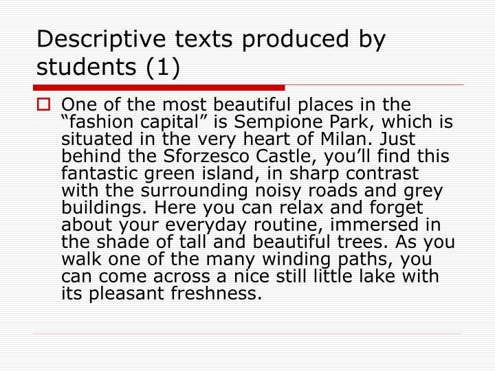 Descriptive texts produced by students (1)