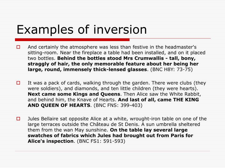 Examples of inversion