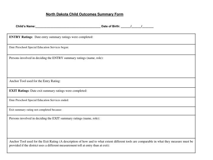 North Dakota Child Outcomes Summary Form