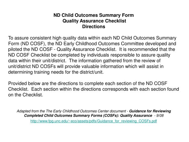ND Child Outcomes Summary Form