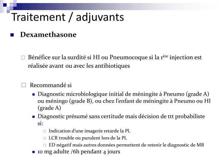 Traitement / adjuvants