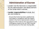 administration of escrow