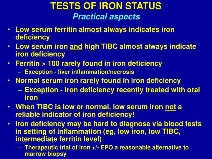 TESTS OF IRON STATUS
