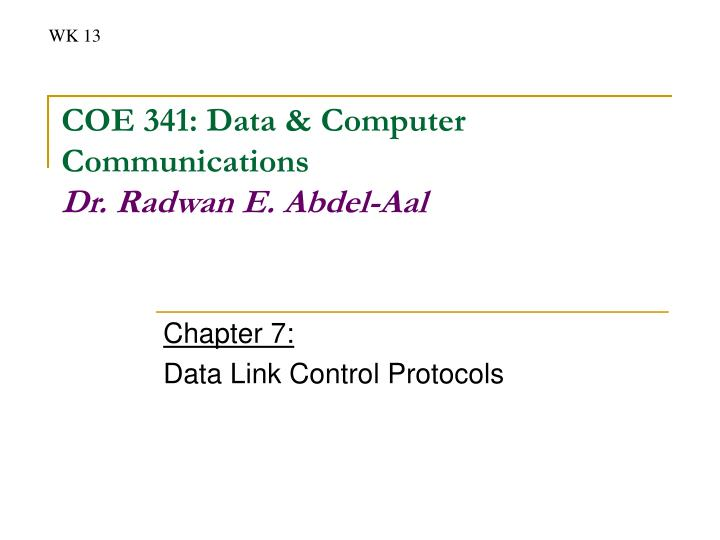 Chapter 7 data link control protocols