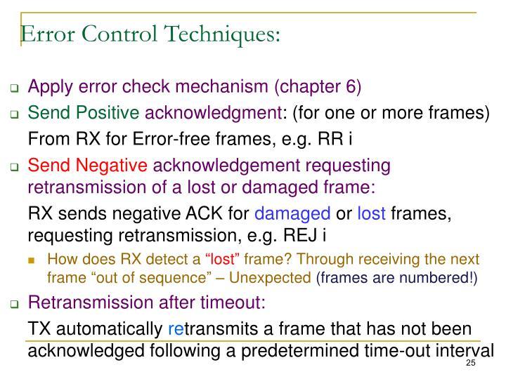 Error Control Techniques: