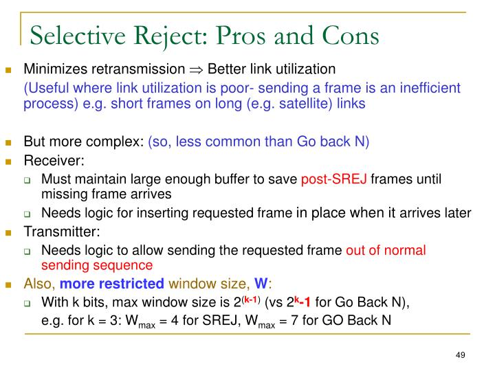 Selective Reject: Pros and Cons