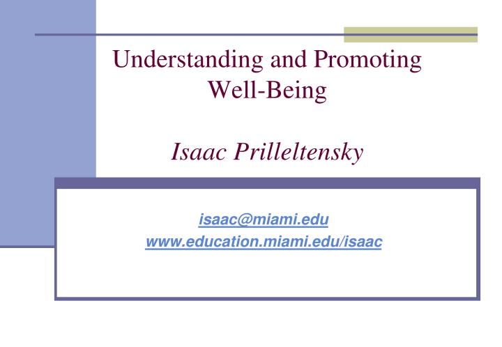 understanding and promoting well being isaac prilleltensky n.