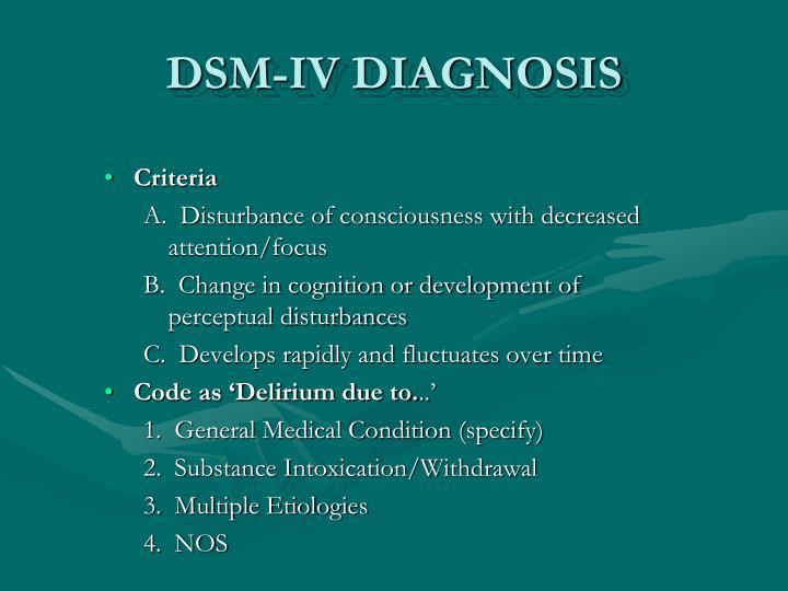 DSM-IV DIAGNOSIS