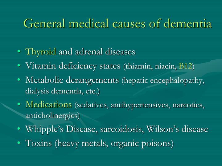 General medical causes of dementia
