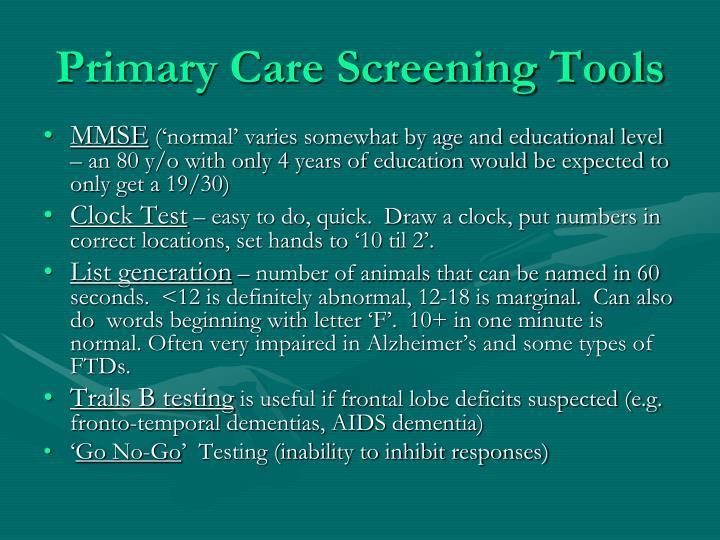 Primary Care Screening Tools