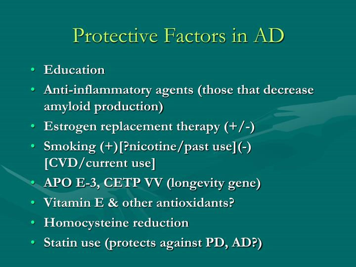 Protective Factors in AD
