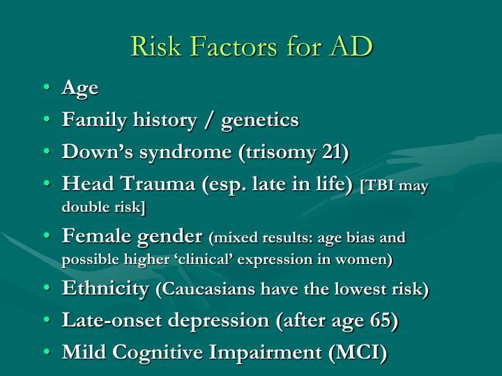 Risk Factors for AD