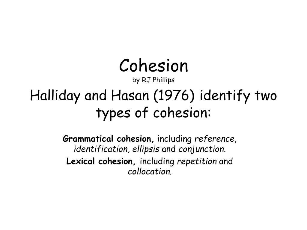 halliday and hasan cohesion