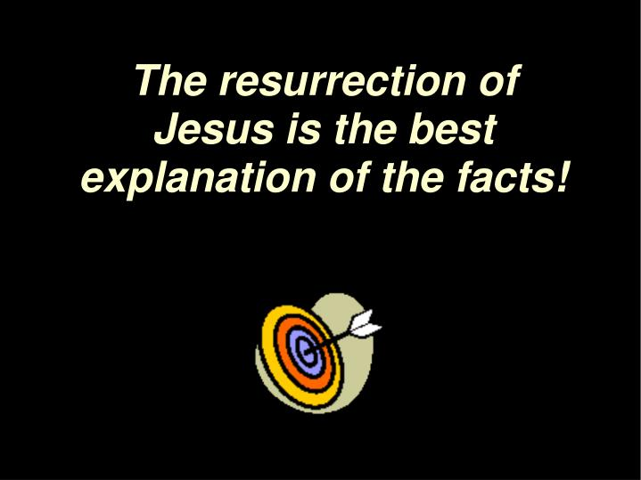 The resurrection of Jesus is the best explanation of the facts!