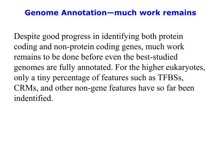 Genome Annotation—much work remains