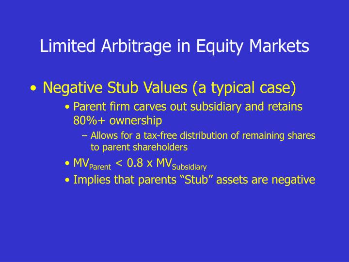 Limited Arbitrage in Equity Markets