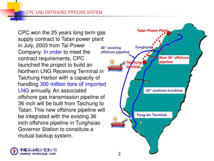 CPC won the 25 years long term gas supply contract to Tatan power plant in July, 2003 from Tai-Power...