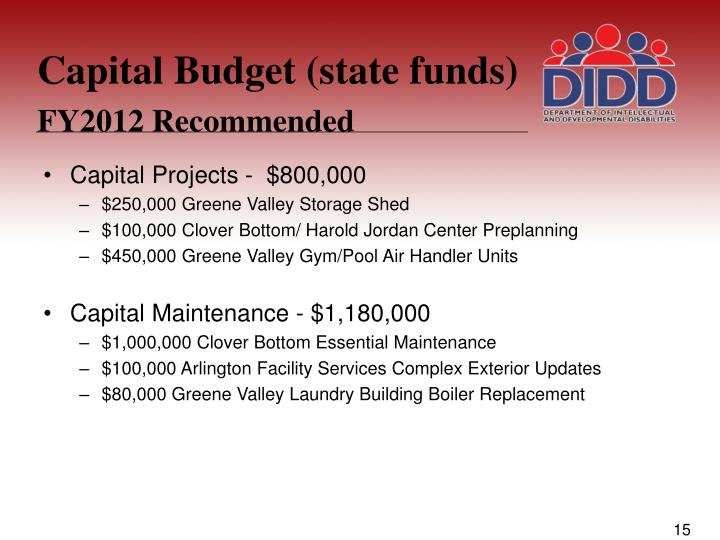 Capital Budget (state funds)
