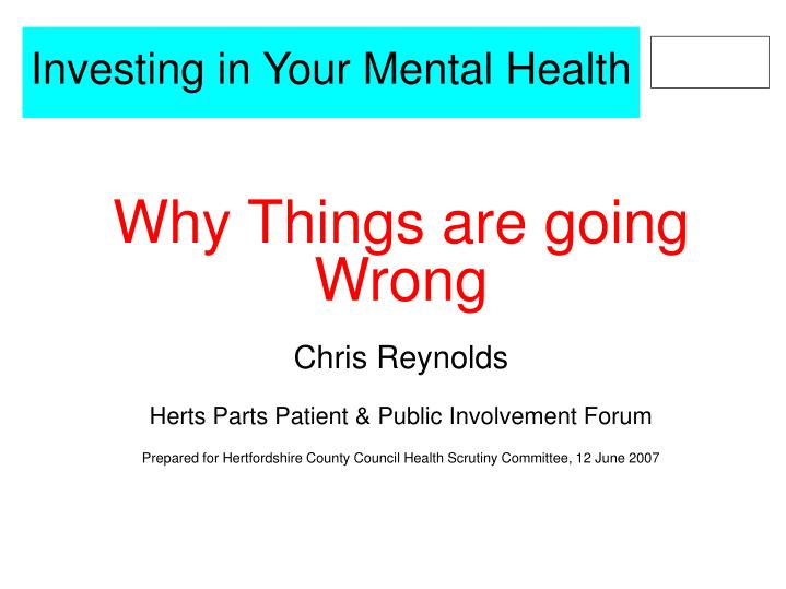 investing in your mental health n.