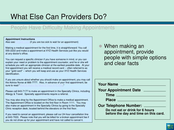 What Else Can Providers Do?