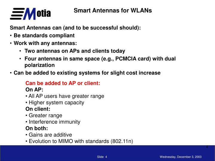 Smart Antennas for WLANs