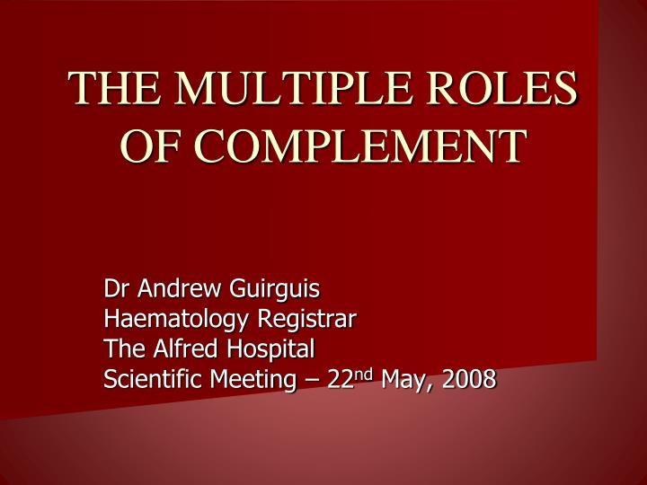 the multiple roles of complement n.