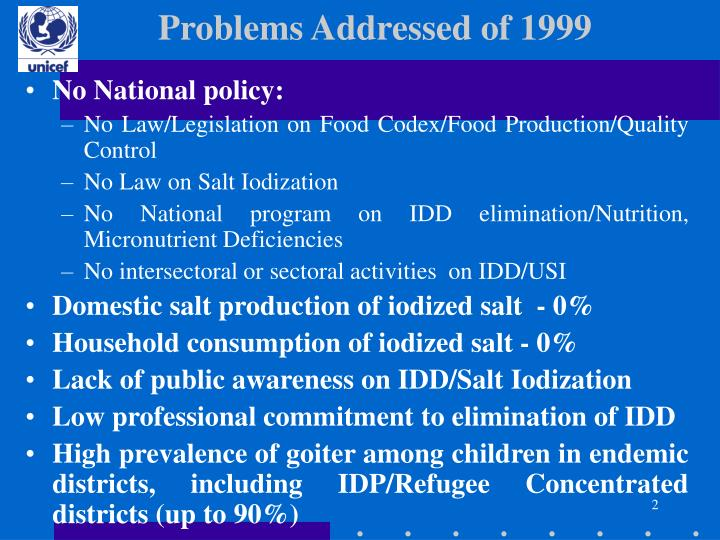 Problems addressed of 1999