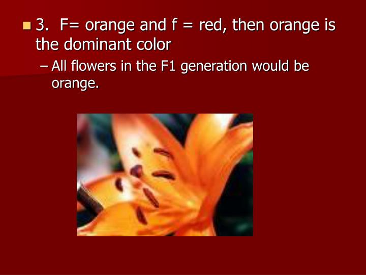 3.  F= orange and f = red, then orange is the dominant color