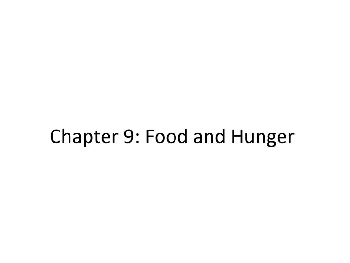 chapter 9 food and hunger n.